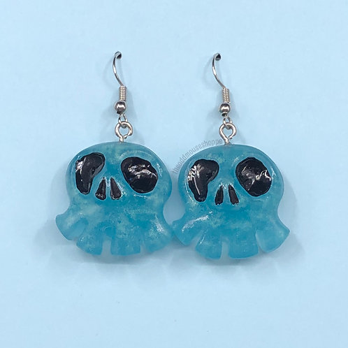Mini Skull Blue Earrings