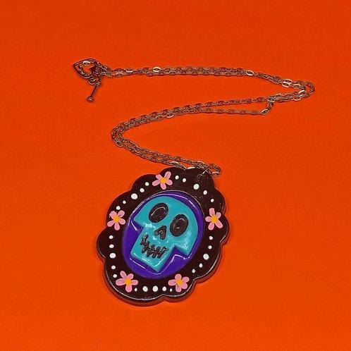 Dia De Los Muertos Necklace Blue
