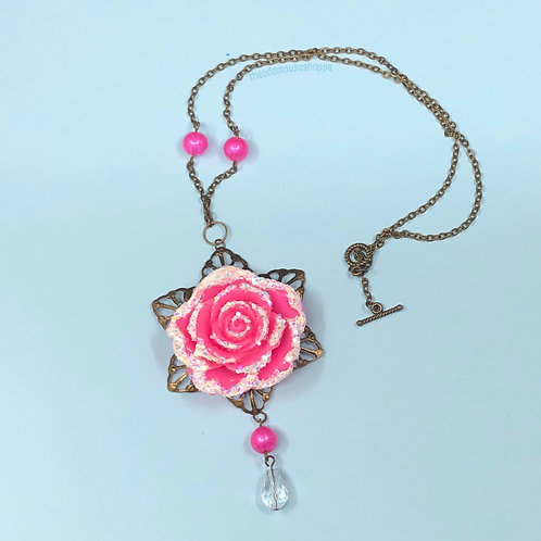 Snow Rose Fuchsia Necklace