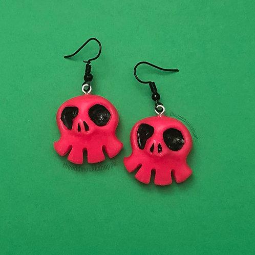 Mini Skull Glow Pink Earrings