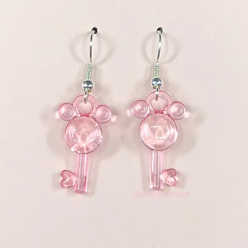 Mouse Earrings Sheer Pink