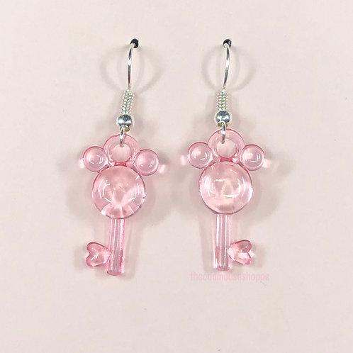 Mouse Earrings Sheer Pink