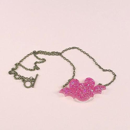 Bat Mouse Pink Glitter Necklace