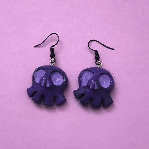 Mini Skull Purple Lavender Earrings