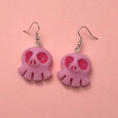 Mini Skull Pink Earrings