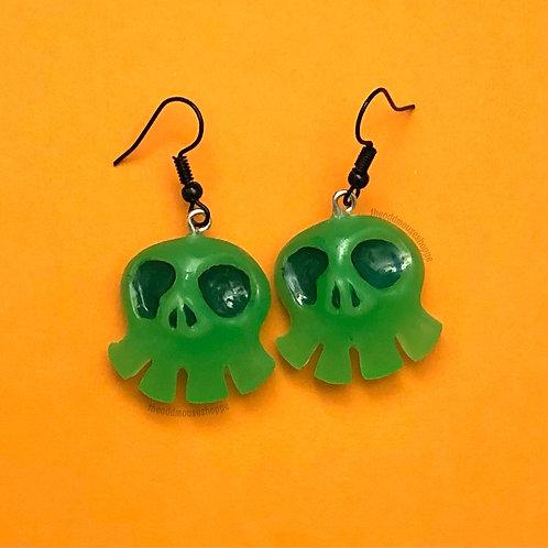 Mini Skull Glow Green Earrings