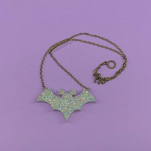 Bat Holo Glitter Necklace