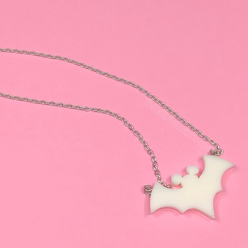 Bat White Necklace