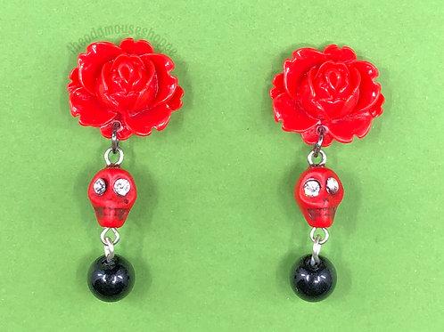 Skull Red Rose Earrings