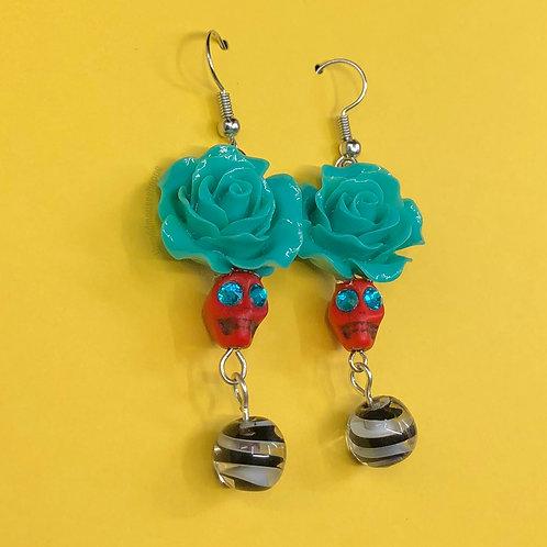 Skull Red Turquoise Rose Earrings