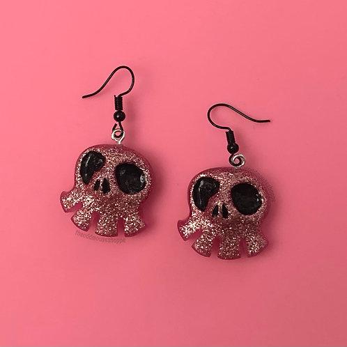 Mini Skull Pink Glitter Earrings