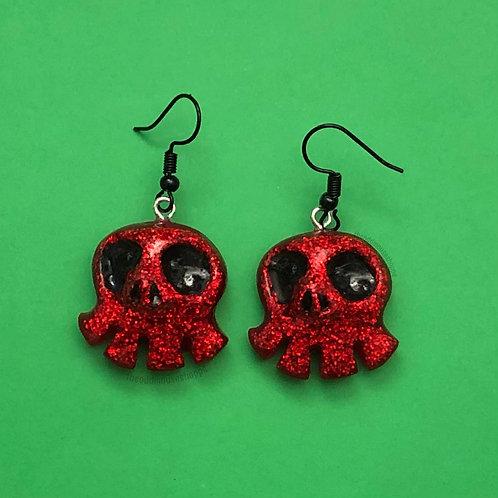 Mini Skull Red Earrings