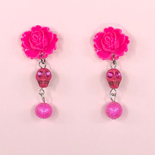 Skull Hot Pink Rose Earrings