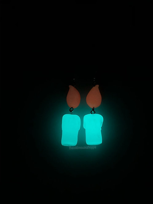 Glow in the Dark Green Candle Earrings