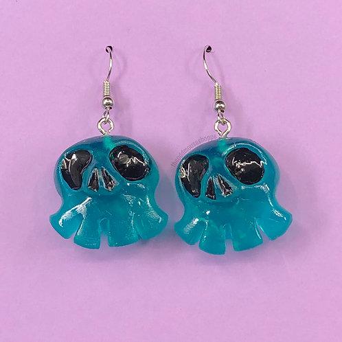 Mini Skull Blue Green Earrings