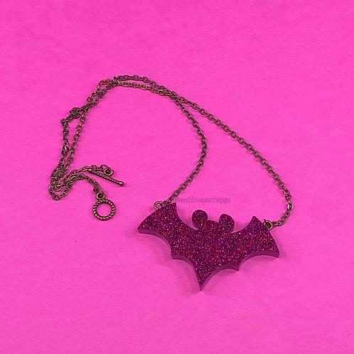 Bat Magenta Glitter Necklace