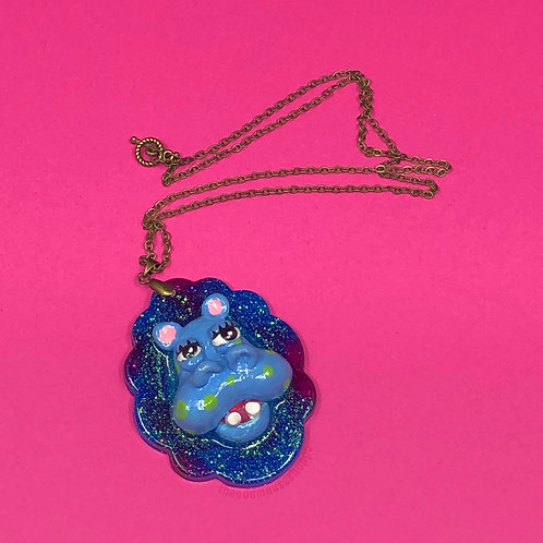 Blue Hippo Necklace