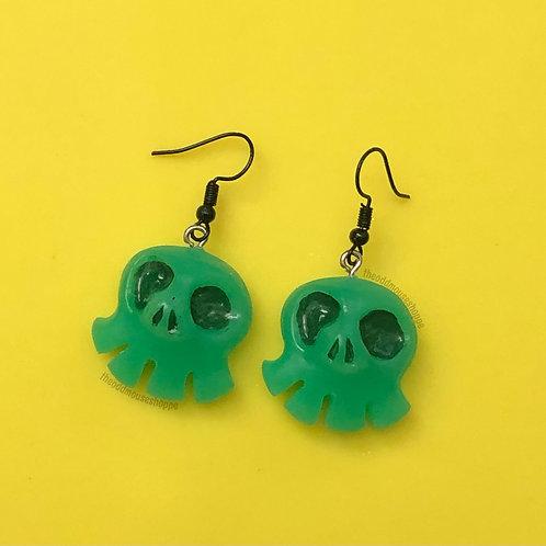 Mini Skull Green Earrings