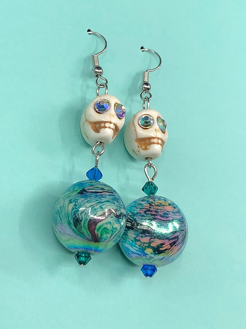 Skull Round Beads Earrings