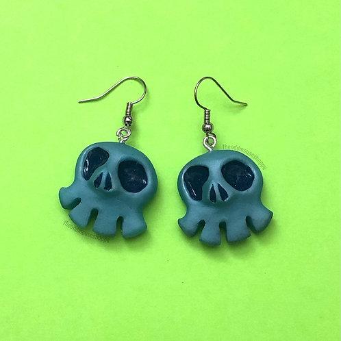 Mini Skull Light Blue Earrings