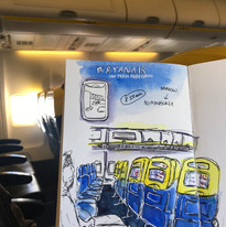 Travel Sketch in Airplane.