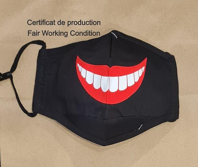 Masque Sourire- Certificat production Fair Working Conditions - ROKA CONCEPTS - BOUTIQUE CADEAUX INSOLITE - YVERDON-LES-BAINS