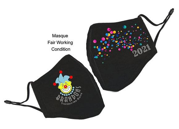 Masque BRANDONS D'YVERDON 2021 - Certificat production Fair Working Conditions - ROKA CONCEPTS - YVERDON-LES-BAINS