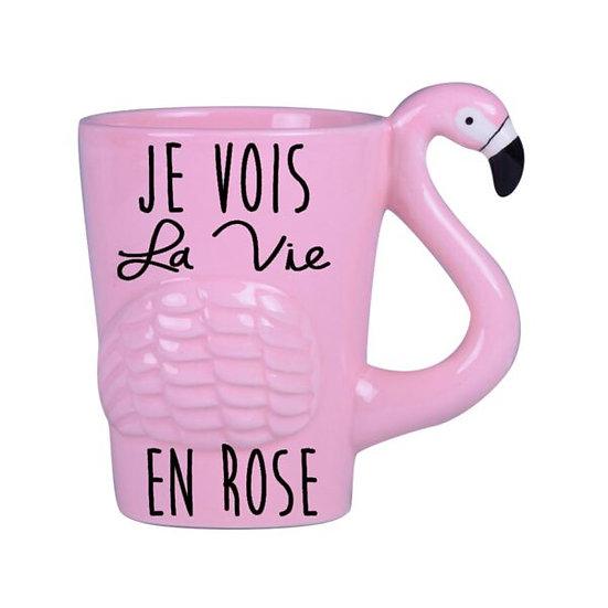 Mug La vie en rose - flamant rose  / Boutique Cadeaux Insolite / Roka La Poulpe ROKA CONCEPTS Yverdon-les-Bains