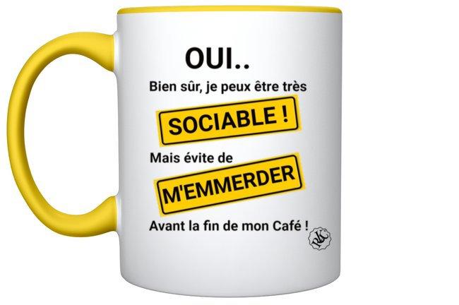 Mug Humour Sociable / Marque ROKTOPODE de Roka La Poulpe avec ROKA CONCEPTS - BOUTIQUE CADEAU INSOLITE- YVERDON-LES-BAINS