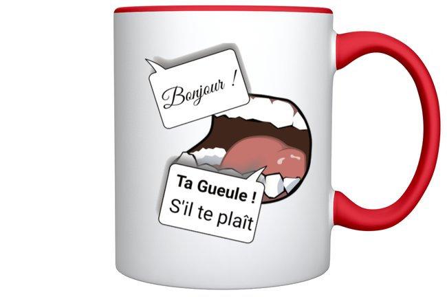 Mug Humour Bonjour / Marque ROKTOPODE de Roka La Poulpe avec ROKA CONCEPTS - BOUTIQUE CADEAU INSOLITE- YVERDON-LES-BAINS