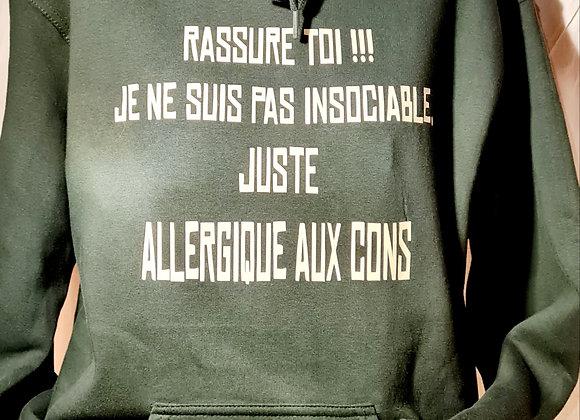 Hoodie / Allergique / Marque ROKTOPODE de Roka La Poulpe avec ROKA CONCEPTS - BOUTIQUE CADEAU INSOLITE- YVERDON-LES-BAINS