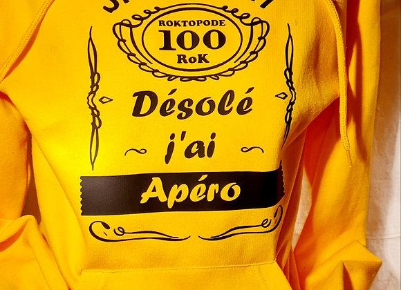Hoodie -  J'ai Apéro / Marque ROKTOPODE de Roka La Poulpe avec ROKA CONCEPTS - BOUTIQUE CADEAU INSOLITE- YVERDON-LES-BAINS