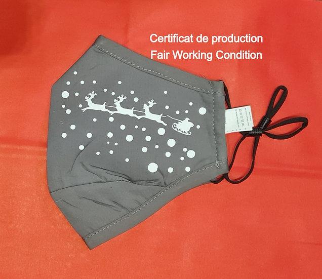Masque Noël - Certificat production Fair Working Conditions - ROKA CONCEPTS - BOUTIQUE CADEAUX INSOLITE - YVERDON-LES-BAINS