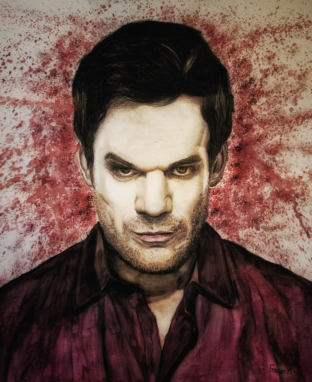 4 - Dexter Morgan - Dexter. Crayon aquarelle + aquarelle, papier, 55x46cm