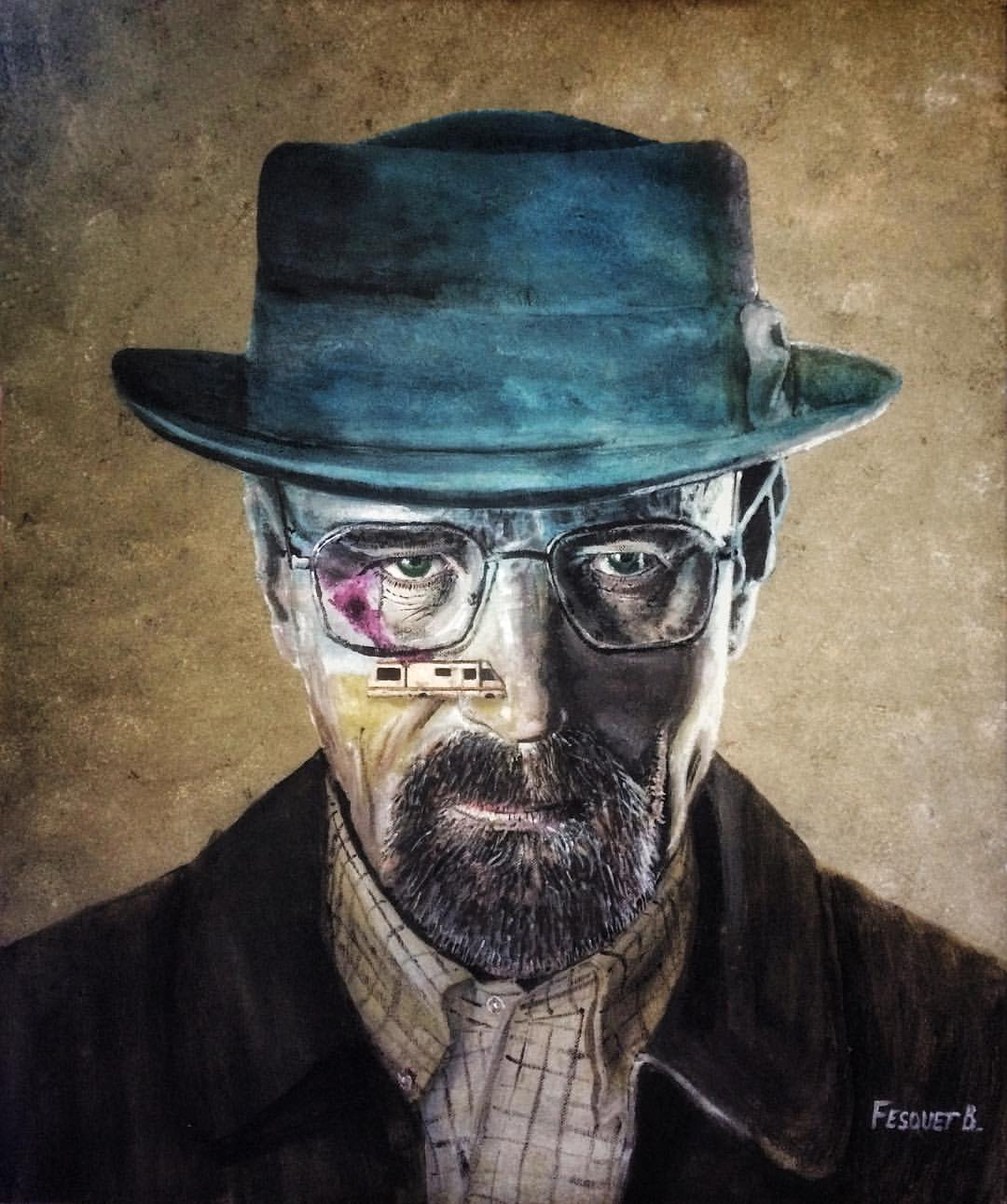 3_-_Walter_White_(Heisenberg)_-_Breaking_Bad._Acrylique_+_Aquarelle,_carton_entoilé,_55x46cm
