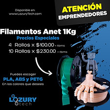 Especial Rollos de Filamento Anet 1.75mm 1Kg