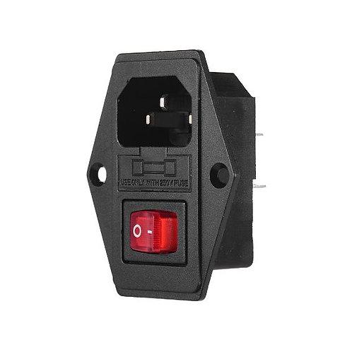 Plug con Conector de Corriente + Switch ON-OFF para Impresora 3D