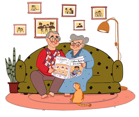 Grandparents reading TribeUne alone.png