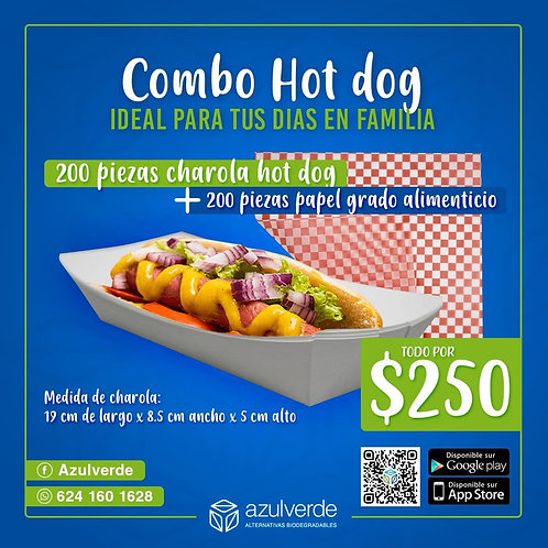 Combo Charola para hot dog + papel