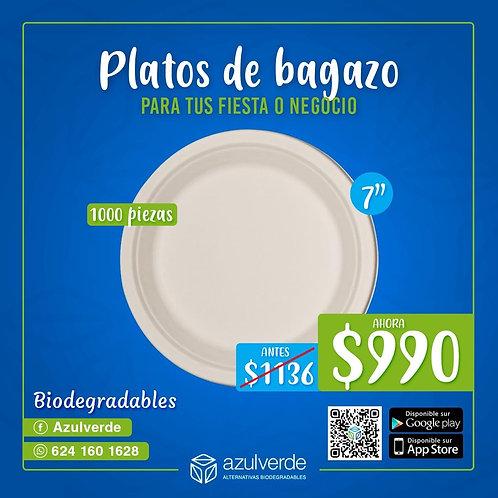 "Plato redondo 7"" bagazo caja"