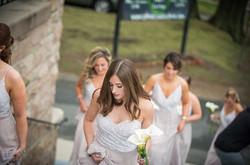 bride makeup walking up stairs