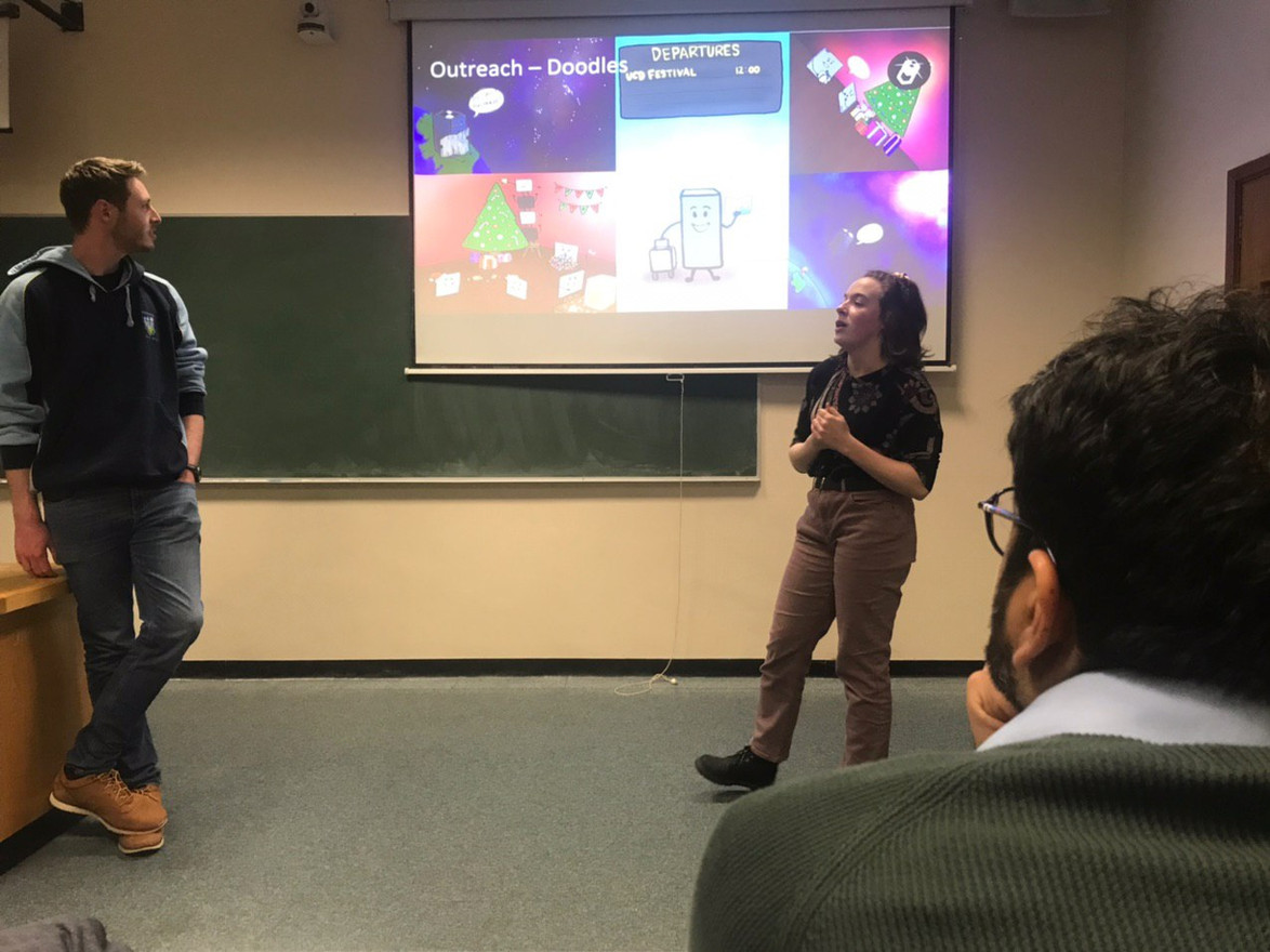 Rachel and Jack speak at UCD Physics Society event