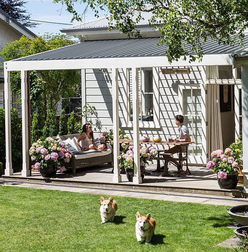 Outdoor living, dog friendly garden, hydrangeas
