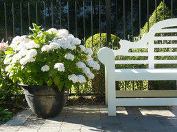 Lutyens Bench paired with white Hydrangea Bridal Bouquet