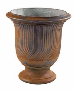 Steel finished fluted urn