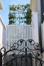 Front gate detail & pleached hedge