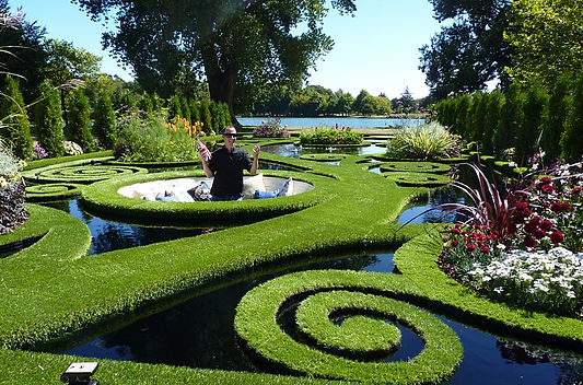 Designer Ben Hoyle in his amazing garden a parterre over water