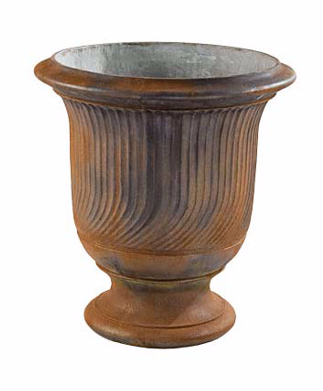 Fluted rust-finished urn