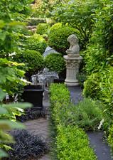 Long narrow garden divided into rooms