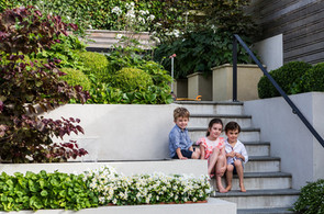 Sloping site transformed into family friendly garden